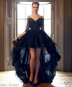 e3c7bfde6c2ac Black Lace Half Sleeve Evening Dress High Low Party Dress Formal ...