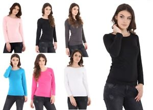 WOMEN-039-S-LADIES-Plus-Sizes-PLAIN-LONG-SLEEVE-45-Cotton-CREW-Top-Basic-T-Shirt