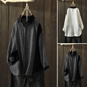 ZANZEA-Femme-Chemise-Shirt-Loisir-Ample-Couture-Revers-Manche-Longue-Confor-Plus