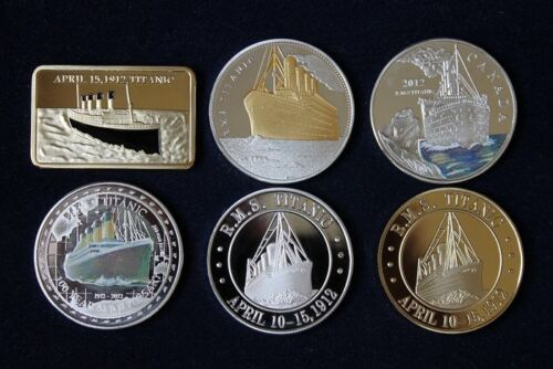 TITANIC NOVELTY GOLD SILVER BAR /& COINS 6 PCS FREE CAPSULE COLLECTIBLE GIFT HOT