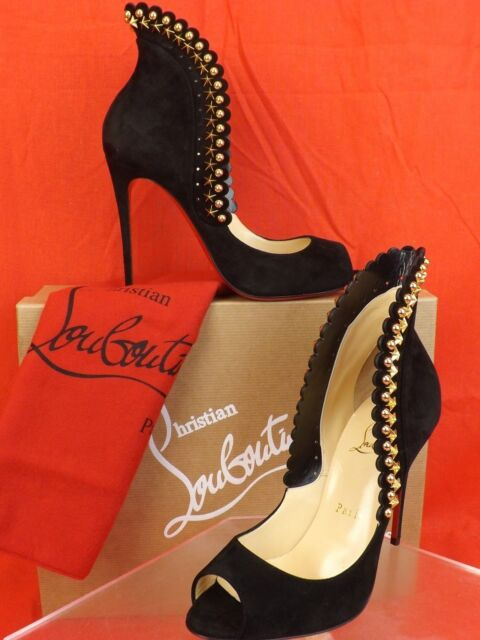 301bc7f86 NIB LOUBOUTIN ROUCOULOUCOU 100 BLACK SUEDE GOLD STARS STUDDED PUMPS 38 $1095