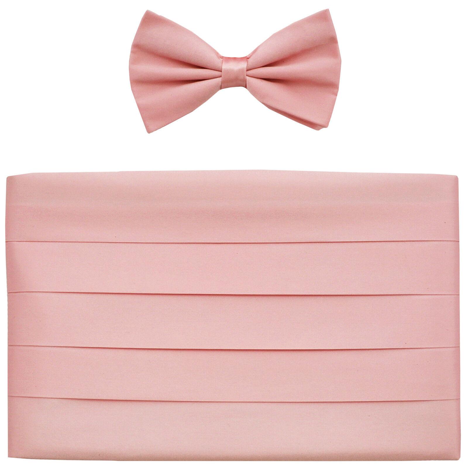 NEW in box Men's 100% SILK Cummerbund, bowtie set solid PINK wedding formal