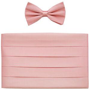 NEW-in-box-Men-039-s-100-SILK-Cummerbund-bowtie-set-solid-PINK-wedding-formal