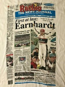 Vintage-90s-1998-Dale-Earnhardt-Daytona-500-Championship-Newspaper-XL-T-Shirt