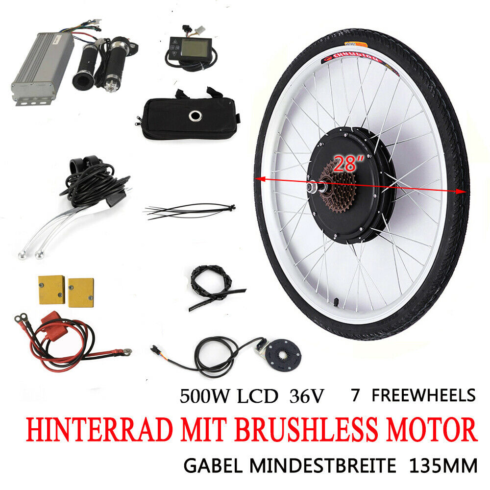 """500W 36V LCD Vélo Electrique 28""""Roue Arrière Brushless Moteur Hub Conversion Kit"""
