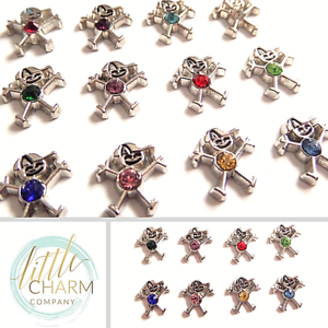 Silver BOY BIRTHSTONE floating charms for glass memory lockets personalised gift