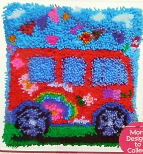 Details About Latch Hook Rug Pillow Kit A Camper Van Tool Included