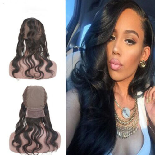 Pre Brazlian Body Wave Human Hair 360 Lace Frontal Closure With Wig Cap Natural