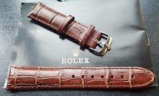 New 20mm Genuine Leather Brown Watch Strap For Rolex With S/S Buckle (S23)