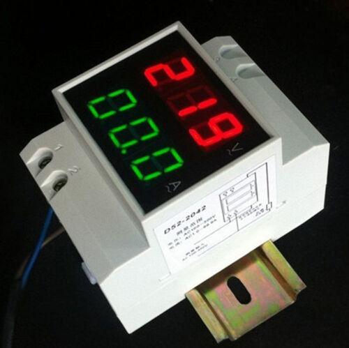 Din Rail Dual Led Display Digital AC Voltmeter Ammeter Voltage Ampere Meter