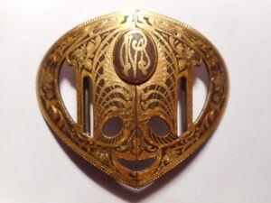 Boucle-ceinture-ancienne-art-nouveau-1900-fleur-feuille-monogramme-metal-laiton