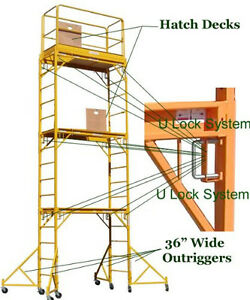 Stand At 17 Feet Hatch Deck High Scaffold Rolling Tower Ebay