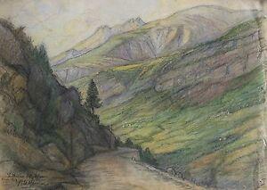 M-LE-MONNIER-Saint-Martin-de-Entraunes-acuarela-Alpes-Maritimos-montana-alpen