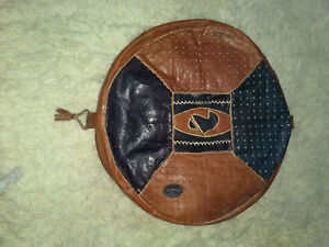 "Genuine Leather Moroccan Pouf, Foot Stool, 20"" diameter, casing only"