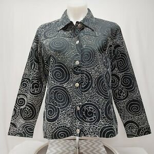 Woman's black white Embroidered Button down jacket by Laura ashley medium petite