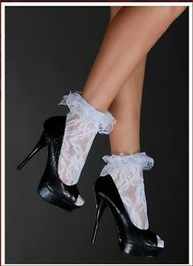 Sexy-White-Flower-Detail-Lace-Lolita-Anklet-Ruffle-Cuff-Socks-Hosiery-Womens