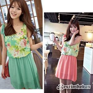Lady-Rundhals-Armellos-Blume-Muster-Schleife-Dekor-Minikleid-2-Farben-b98b