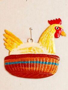 Artist Wilhelm Schweizer German Hanging Ornament Zinn Hen Laying In Basket Ebay