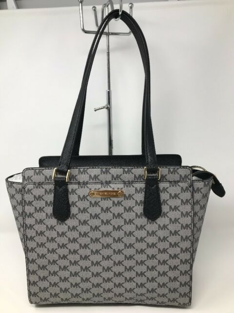 3a1a445d75e499 Michael Kors Black Grey Signature Dee Dee Medium Tote 38s8xtwt2v for ...