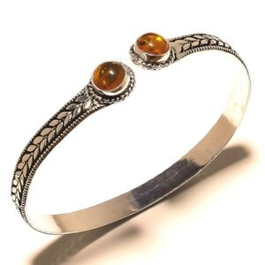 Royal-Silver-Plated-Amber-Cuff-Bracelet-Bangel-Gemstone-Jewelry