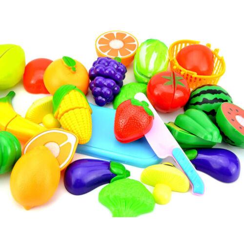 PLASTIQUE Fruits et Légumes Nourriture Coupe Set Jeu de Rôles Fait Semblant