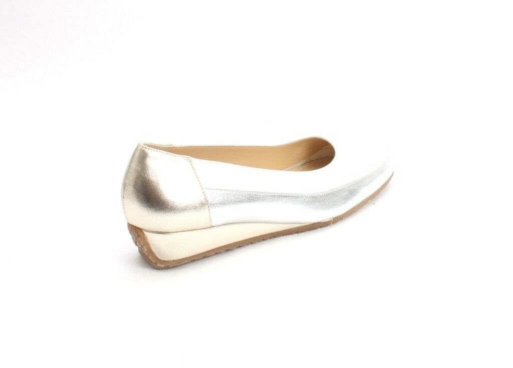 Luca Luca Luca Grossi 6060a White gold Silver   Leather Wedge Pumps shoes 41   US 11 bdbd48