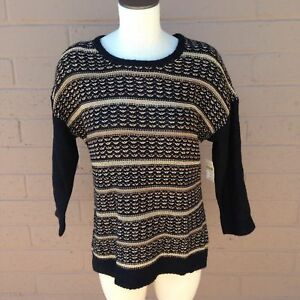 Coldwater-Creek-Black-Gold-Striped-Pullover-Sweater-Wool-Alpaca-Womens-Small-8