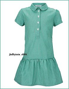 Ages 3-20 Girls Summer Gingham School Dress Pleated Sky Blue Purple Red Green