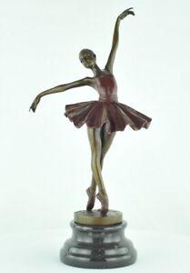 Statue-Sculpture-Danseuse-Classique-Opera-Style-Art-Deco-Bronze-massif-Signe