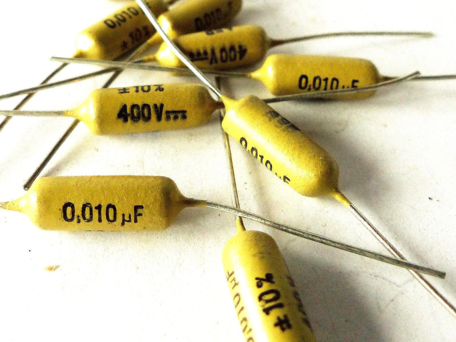 10 pcs Mullard Mustard Capacitors 10 nF   0.01 MFD   400V, NOS
