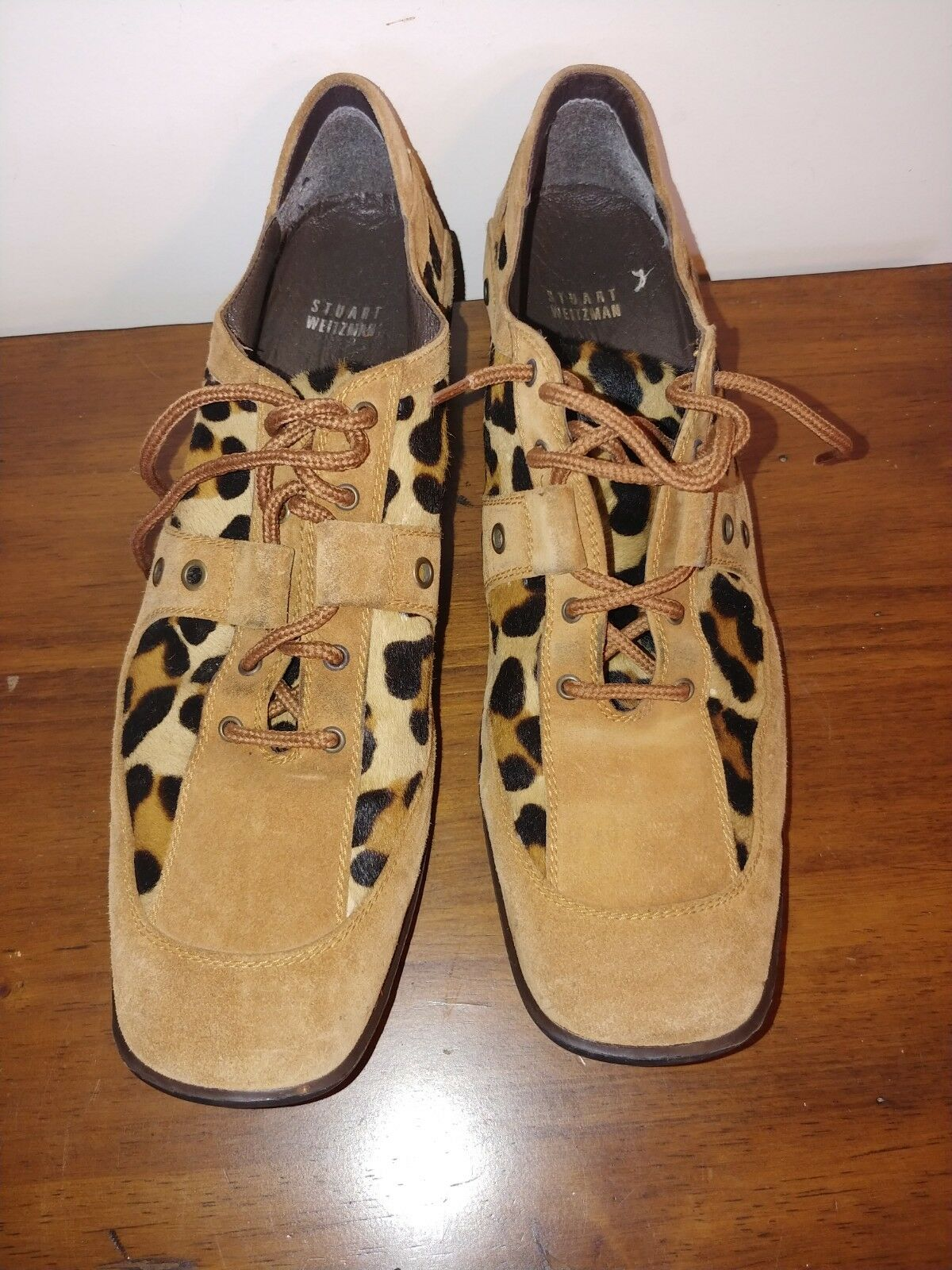 Stuart Weitzman Gamuza Estampado de Leopardo Leopardo Leopardo Pelo Real de la pantorrilla Talla 10 Y Medio  Precio por piso