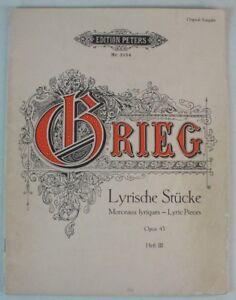 Antiquarische Noten/songbooks Aufstrebend Edition Peters Nr 2154 Krieg Lyrische Stücke Opus 43 Heft 3 Grades Noten B7672