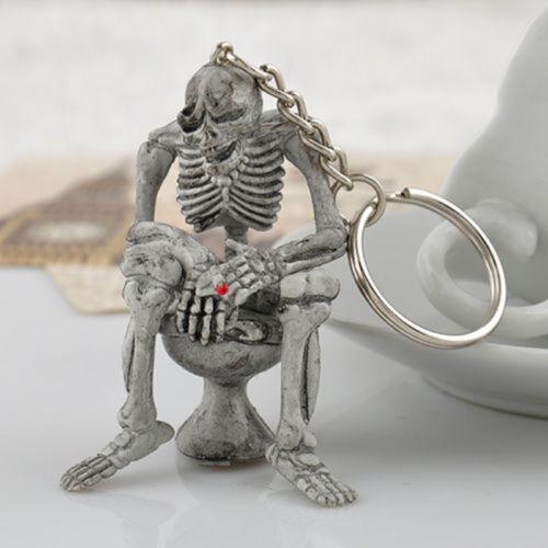 New Totenkopf Toilette Schlüsselanhänger Taschenanhänger Gothic Skull Schädel