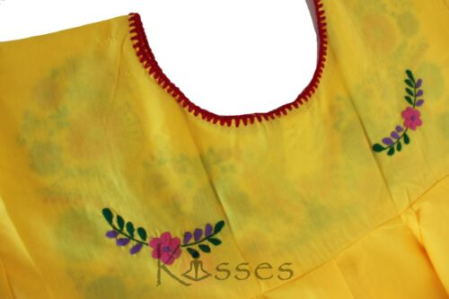Yellow Mexican Peasant Blouse Hand Embroidered Top Colors Vintage Style Tunic