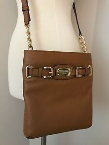 214dacf8ae41 Image is loading NWT-MICHAEL-KORS-Hamilton-Acorn-Leather-Large-Crossbody-