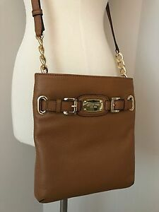 2c4e5eb3bf8c4 Image is loading NWT-MICHAEL-KORS-Hamilton-Acorn-Leather-Large-Crossbody-