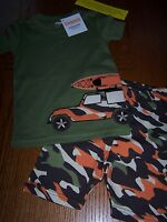 Gymboree Green Camo Jeep Kayak Shorty Pajamas Gymmies Sz 5 Free Us Shipping