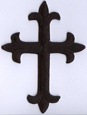 Fleur de lis Cross - Black - Religious Iron on Applique/Embroidered Patch