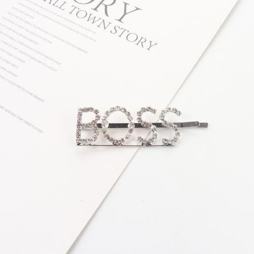 Women/'s Girls Rhinestone Hair Clip Crystal Letters Hairpin Barrette Slide Clips