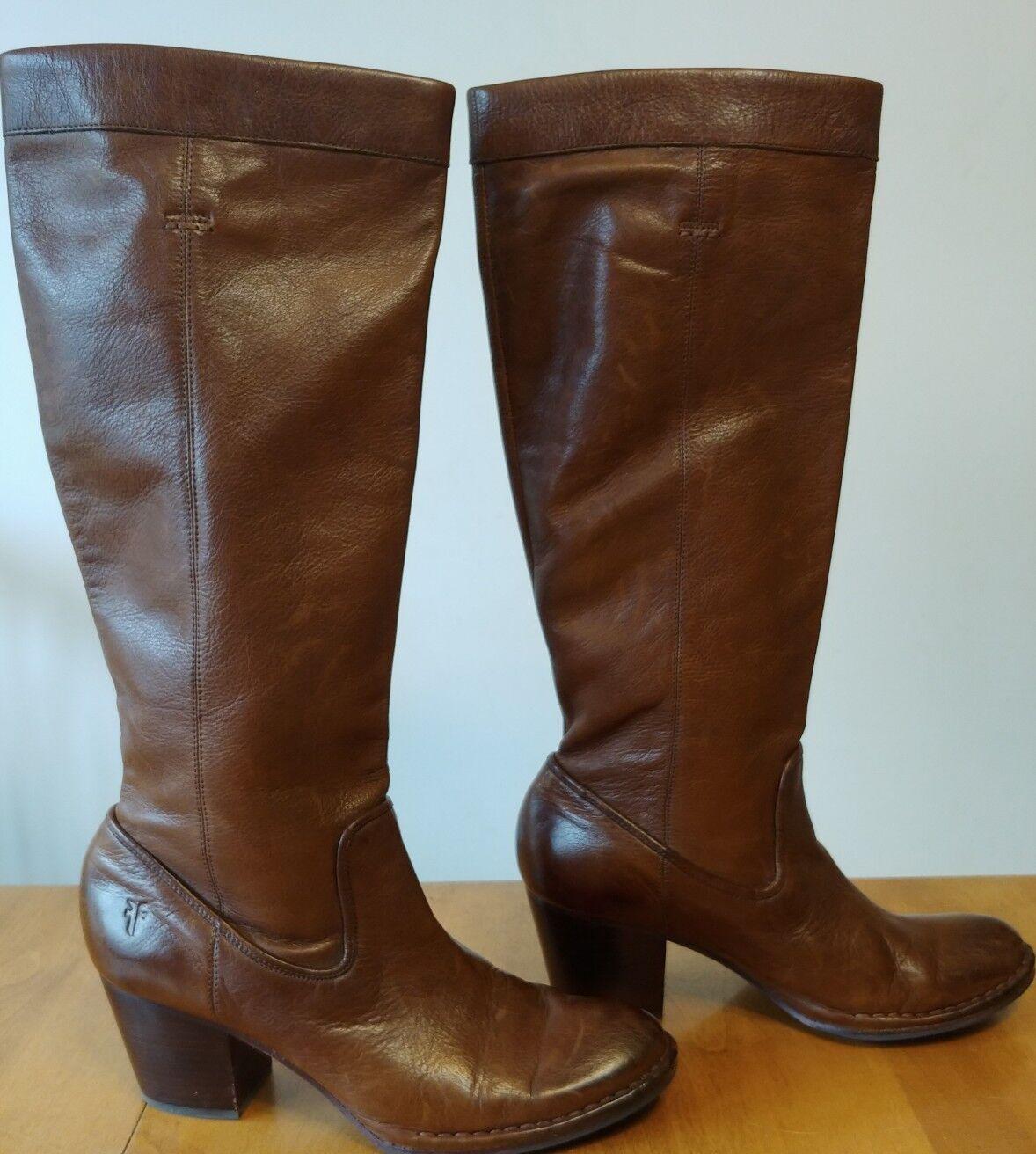 FRYE Rory Scrunch Distressed Stiefel Braun Leder Tall Heeled Stiefel Distressed Größe 9.5 c35f43