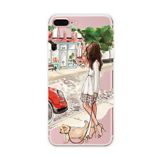For iPhone SE 5s 6 6s 7 Plus Fashion Girl Ultra Thin Clear Soft TPU Case Cover