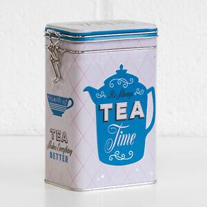 Retro-Tea-Time-1-3L-Metal-Storage-Tin-Kitchen-Container-Teabag-Caddy-Holder-Gift
