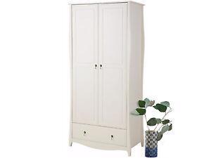 kleiderschrank garderobenschrank dielenschrank kiefer massivholz wei landhaus ebay. Black Bedroom Furniture Sets. Home Design Ideas