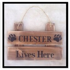 Personalised Rustic Wooden House Name Plaque/Signs- Solid wood, Pet Dog Sign