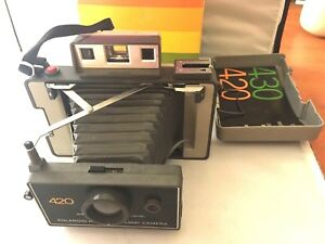 Polaroid-420-Instant-Film-Folding-Land-Camera-w-box-Made-in-USA-1970s-As-Is