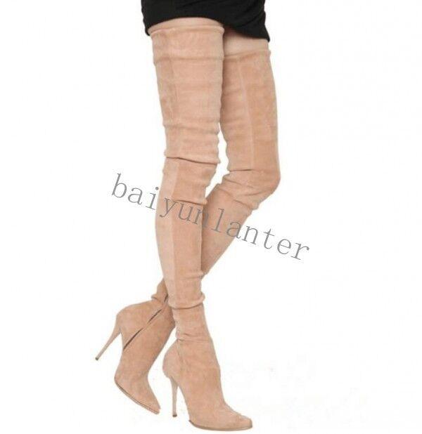 Lady dessus genou cuisse haute jambe bottes velours talon aiguille en daim talon haut chaussures big sz