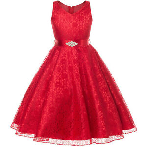 RED Lace Flower Girl Dresses Birthday Wedding Bridesmaid Graduation Party Formal