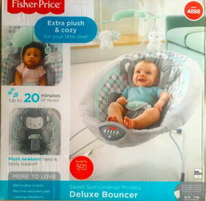 Fisher-Price Sweet Surroundings Monkey Deluxe Bouncer - DTH01 - NEW Open Box