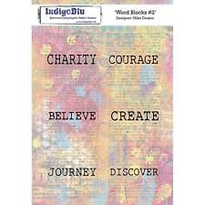 INDIGO BLUE Mike Deakin WORD BLOCKS #2 A5 Stamps IND0296 Charity Courage Create