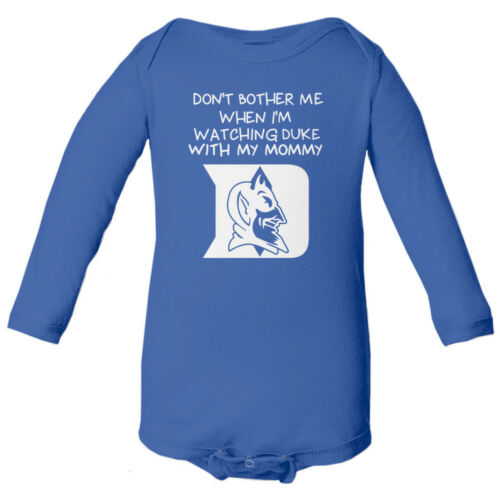 Duke Blue Devils Watching With Mommy Basketball Baby Long Sleeve Bodysuit